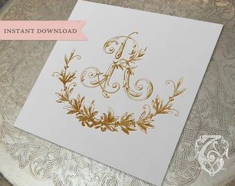 Vintage Wedding R Initial Wreath Crest Digital Download