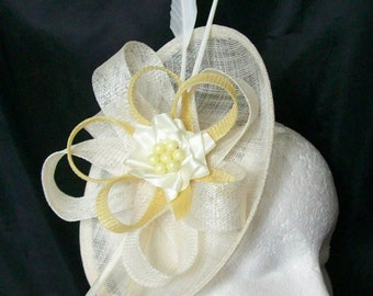 Cream Ivory & Pale Primrose Yellow Pastel Pandora Saucer Sinamay Loop Feather Pearl Fascinator Headpiece Wedding Derby Ascot- Made to Order