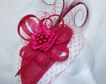 Cerise Raspberry Pink Blusher Veil Curl Feather & Rhinestone Pearl Teardrop Fascinator Mini Cocktail Hat Wedding Derby  Custom Made to Order