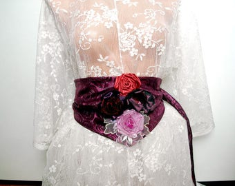 Purple Bridal Sash Belt, Purple Wedding Dress Sash Belt, Obi belt. Purple flower sash belt for wedding dress