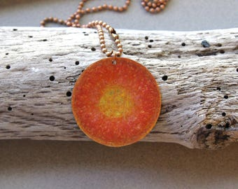 Copper Sun Pendant Bright Orange Gold and Yellow Prismacolor Pigments Hand Colored Sunshine on Pure Copper Ball Chain OOAK Jewelry