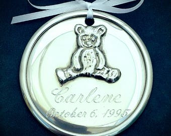 Personalized Pewter Baby Ornament, Teddy Bear