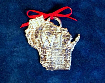 Pewter Wisconsin Ornament (WI)