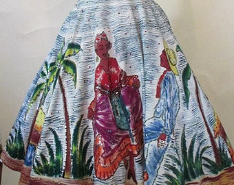 Amazing 1950's  hand painted Mexican circle skirt signed by the artist Vintage Mexicana Rockabilly Pinup girl size medium/Large