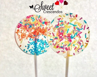 Confetti  Lollipops- Hard Candy Lollipops- Birthday Lollipops- Candy Buffet Lollipops