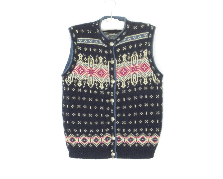 Vintage Cardigan Sweater Wool Cardigan Vest Boxy 80s