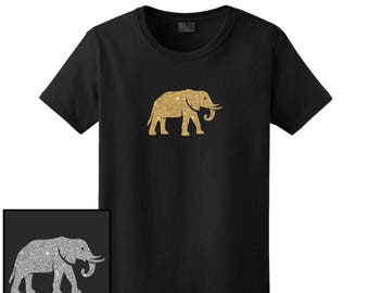 Glitter Elephant T-Shirt - Men, Women Ladies Female, Youth Kids, Long - Custom Text Personalized Tee