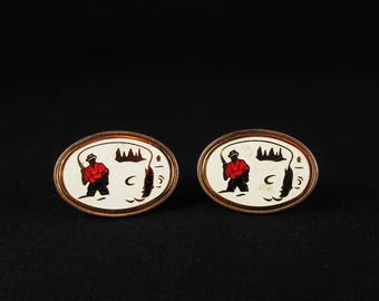 Vintage Cuff Links with Enamel Fly Fishing Scene