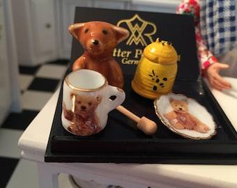Miniature Honey Bear Breakfast Set by Reutter Porcelain, Dollhouse Miniatures, Honey Jar, Teddy Bear, Bear Plate and Cup