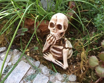 Mini Skeleton Figurine, Half Skeleton, Fairy Garden Accessory, Miniature Garden Decor, Shelf Sitter, Topper, Crafts
