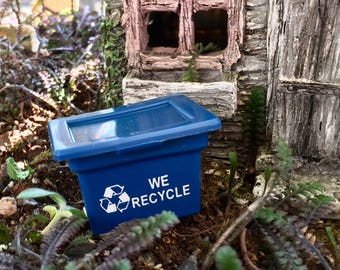 "Miniature Recycling Bin, Mini Blue ""We Recycle"" Bin, Dollhouse Miniature, 1:12 Scale, Dollhouse Accessory, Decor, Crafts, Topper"