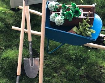 Miniature Garden Tools, Wood Handle, Metal Mini Tools, 3 Piece Set, Shovel, Rake, Hoe, Dollhouse Miniatures, 1:12 Scale