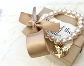 Mother of the Bride or Groom Pearl Bracelet with gold charm
