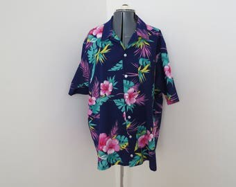 "Vintage Hibiscus Hawaiian Shirt - Chest 48"" Purple & Pink"