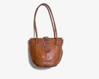 Vintage Italian Leather Bag / Italian Leather Purse / Brown Leather Bag / Embossed Leather Bag / Leather Bucket Bag / Leather Satchel
