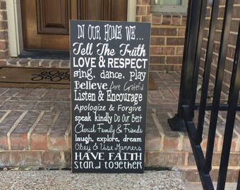 Family Values Wood Sign ~ House Rules ~ Farmhouse Decor ~ Family Rules Sign ~ Family Sign ~ In Our Home We ~ Family Rules Wood Sign