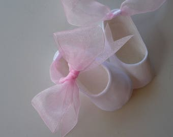 Infant Ballet Slippers . Baby Girl Shoes . Ballet Shoes . Shower Gift . Baptism . Dedication . Blessing . Christening . Baby Booties . Flats