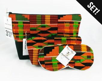 African Toiletry Bag Set men african fashion boho sleep mask dopp kit gift set kente cloth dopp bag for men black lives matter black pride