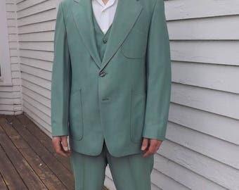 70s Mens Green Leisure Suit Retro 1970s Vintage 44 46 L Hyde Clothes