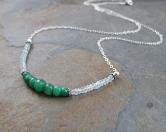 Genuine Emerald and Aquamarine Necklace -  Thin Gemstone Chain Choker - Sterling Silver Choker