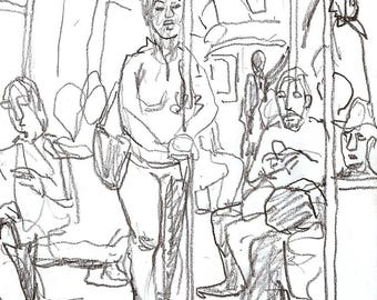 A Train Composition, NYC.  Original Pencil Drawing, 5x7 inch Sketch, New York City Subway, Signed Original Urban Fine Art