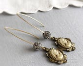 SOLD to J - cameo earrings AUSTEN rhinestone earrings gold cameos long earrings cameo dangles vintage inspired victorian style jewelry