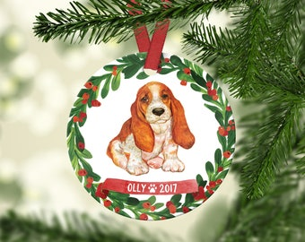 Basset Hound Ornament Basset Hound Christmas Ornament Personalized Dog Christmas Ornament Dog Ornament