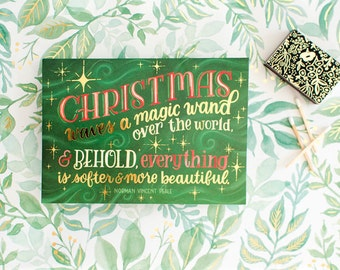 Holiday Card Stationery Set, Evergreen Maroon Gold Traditional Christmas Greeting, Classic Xmas Merry Everything Clever Greeting Boxed Cards