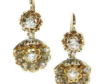 Antique diamond drop earrings 14k yellow gold rose cut diamonds Victorian earrings