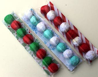 READY to SHIP- Stocking Stuffer Wildflower Seed Bomb Favor in clear cello sleeve-3 holiday inspired color combinations to choose from