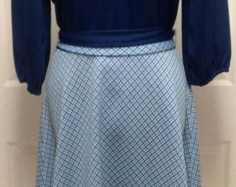 Fabulous 60s 70s Navy Blue Day Dress with Belt M/L