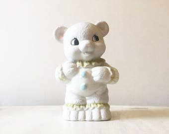 Teddy money box, vintage money box, teddy coin bank, vintage coin bank, vintage piggy bank, china coin bank, baby shower gift, retro nursery