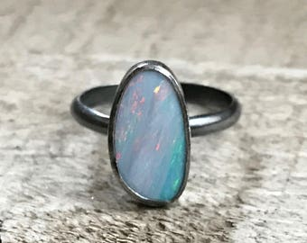 Luminescent Sparkly Blue Boulder Opal Sterling Silver Ring | Opal Ring | Gunmetal Opal Ring | October Birthstone Ring | Edgy | Rocker | Boho