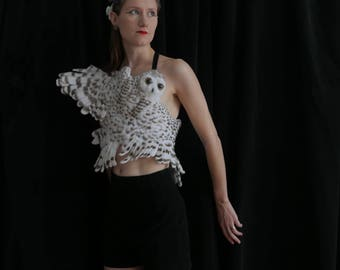 Snowy Owl Shirt - vegan - Needle felted synthetic fiber and velvet ribbon