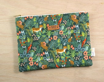 Rifle Paper Co Jungle Pouch, Large Zipper Pouch, Personalized Makeup Bag, Small Fabric Clutch, Menagerie Pouch, Monogram Gift for Women