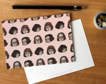 Short Haired Girls - Art Postcard. Watercolour Illustration. Girls. Stationary