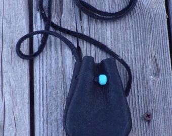 ON SALE Black leather medicine bag , Leather crystal bag. Black leather neck pouch , Black leather necklace bag