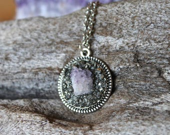 Raw Amethyst Necklace - PETITE Crystal Necklace - Bohemian Jewelry - Wiccan Jewelry - Gypsy Queen - Festival Fashion - Boho Hippie Necklace