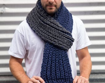 Navy Blue and Grey Chunky HandKnit Scarf long scarf for men, ready to ship