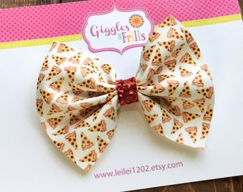 Pizza Hair Bow, Faux Leather Bow, Pizza Hair Clip, Junk Food Hair Bow, Pizza Party, Pepperoni Pizza Hair Bow, Toddler Hair Bow, Leather Bow
