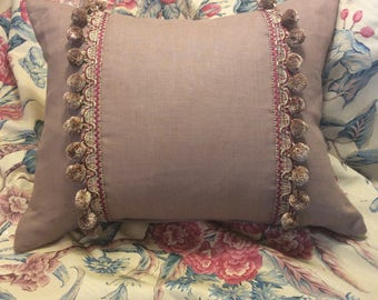 Ginger Linen 16x20 Pillow Cover with Braided Ball Fringe Trim