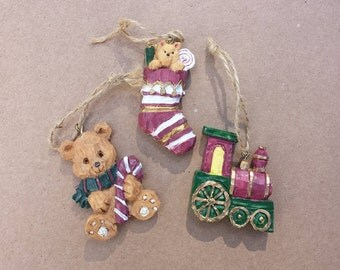 Christmas Ornaments, Train, Teddy Bear, Stuffed Stocking, Collection of 3 Resin Ornaments, Christmas Holiday, Tree Ornaments