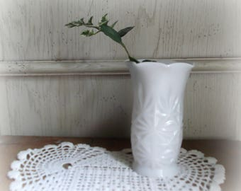 Vintage Milk Glass Vase Starburst Pattern Wedding Bud Vase