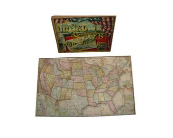 Map Puzzle Etsy - Us jigsaw map wood