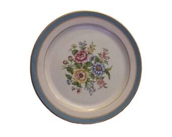 "Vintage Platter Charger Atlas China New York 22K Gold Edmonton Flowers Pink Blue Green Floral 22 K 11"" Round"