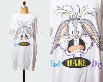 Vintage 90s Bugs Bunny Looney Toons Shirt TShirt / 1990s Warner Brothers Bad Hare Day Cartoon Retro T Shirt Extra Large xl xxl