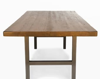 """Rustic Dining Table made with 2.5"""" thick reclaimed wood top.  Variety of table bases, sizes and finishes available."""