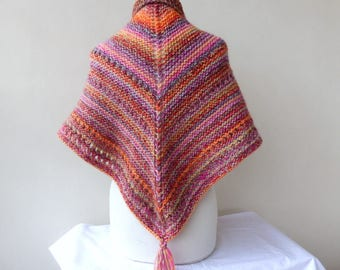 Colourful Hand Knit Shawl Triangle Pink Wrap Colourful Scarf