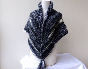 Black and white Shawl Black wrap Chunky Knit Shawl Triangle Outlander Inspired