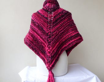 Pink Shawl Triangle Chunky Knit Shawl Triangle Outlander Inspired